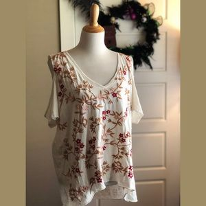 Lucky Brand Embroidered Cold Shoulder Tee